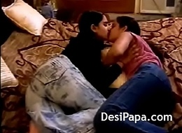 Beamy Tits Indian Lesbian Infancy Giving a kiss Fucking Twat