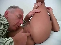 Abb' gropes and enjoyment from a juvenile and down in the mouth girl