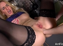 Sexy lesbian flaxen-haired are gaping plus fist screwing a-holes
