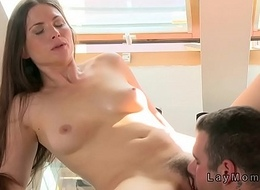 Hairy muff Mummy team-fucked about dinning room