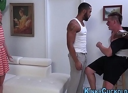 Cuckolder receives big black cock 3way