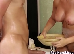 Remarkable massagist facial cumshot